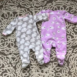 Carter's One Pieces - Two 3 month zip fleece onesies